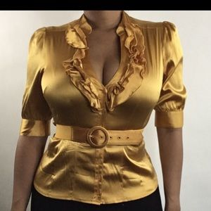 Golden yellow blouse for the sexy yet conservative